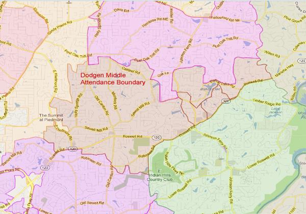 Dodgen Middle School Attendance Zone