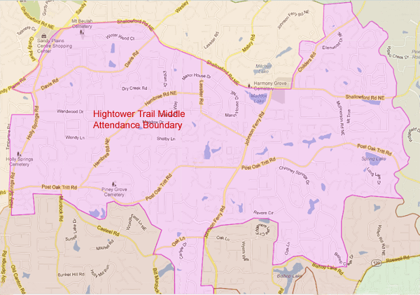 Hightower Trail Middle School Attendance Zone