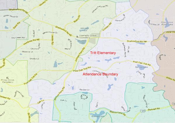 Tritt Elementary School Attendance Zone